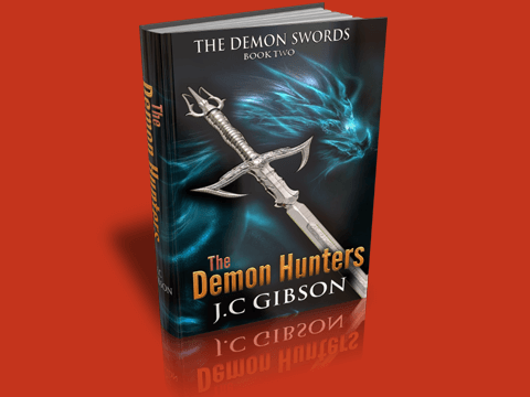Demon Swords eBook Cover Rendered in 3D Box Shot Pro